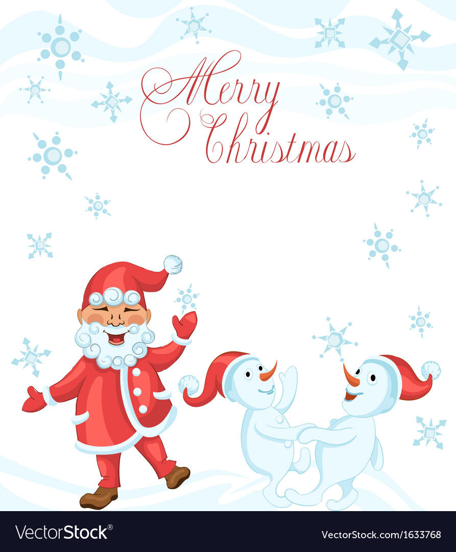 Christmas Dancing Cartoon.Christmas Cartoon Card With Dancing Santa