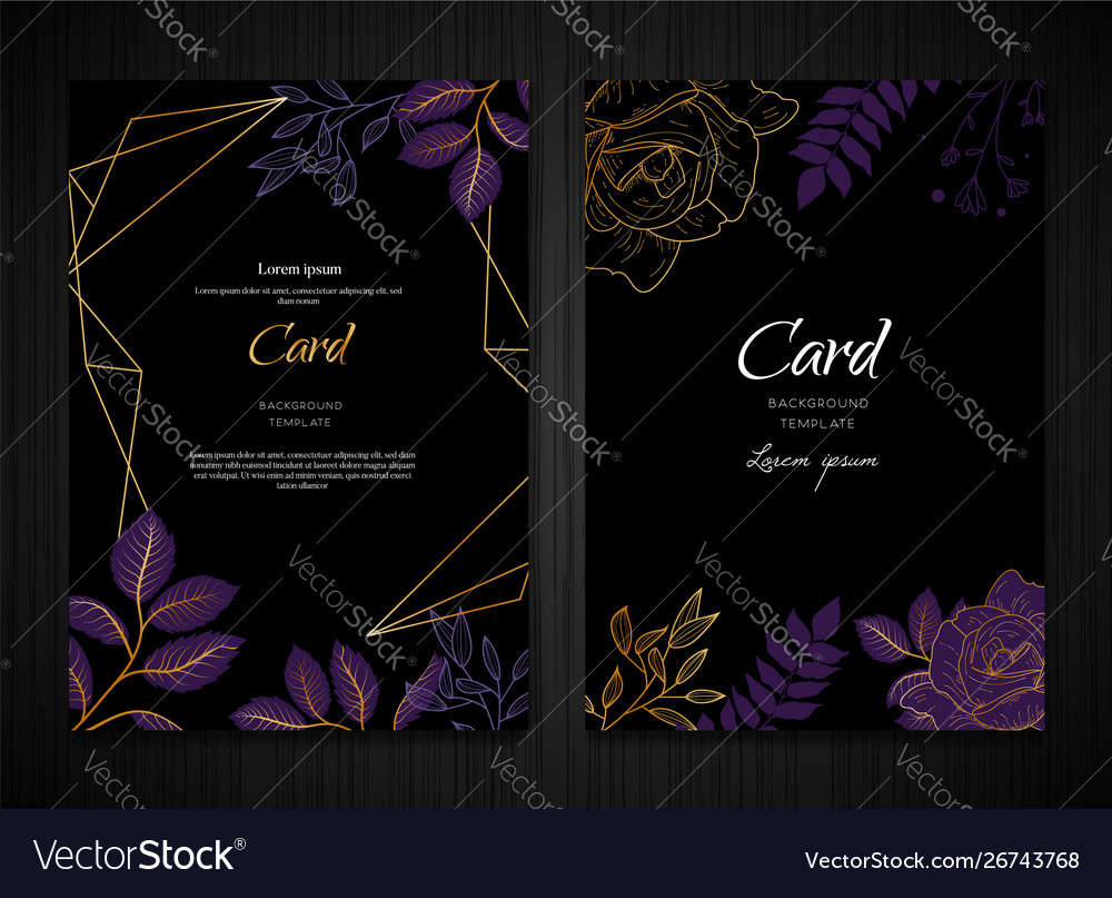 Dark purple floral background card template