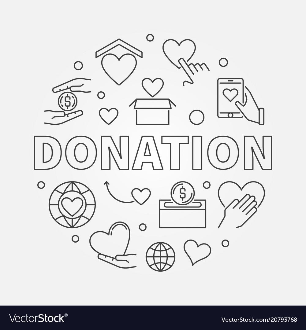 Donation round donating money vector image