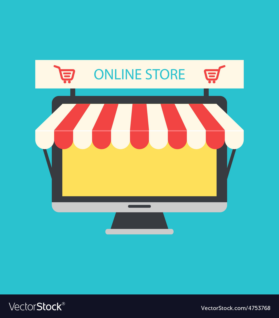 Flat Icon of Computer PC as Showcase of Shop