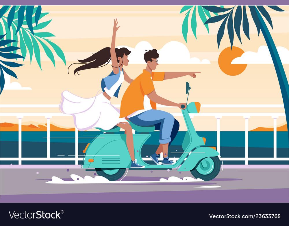Flat man and woman couple riding on motorbike near