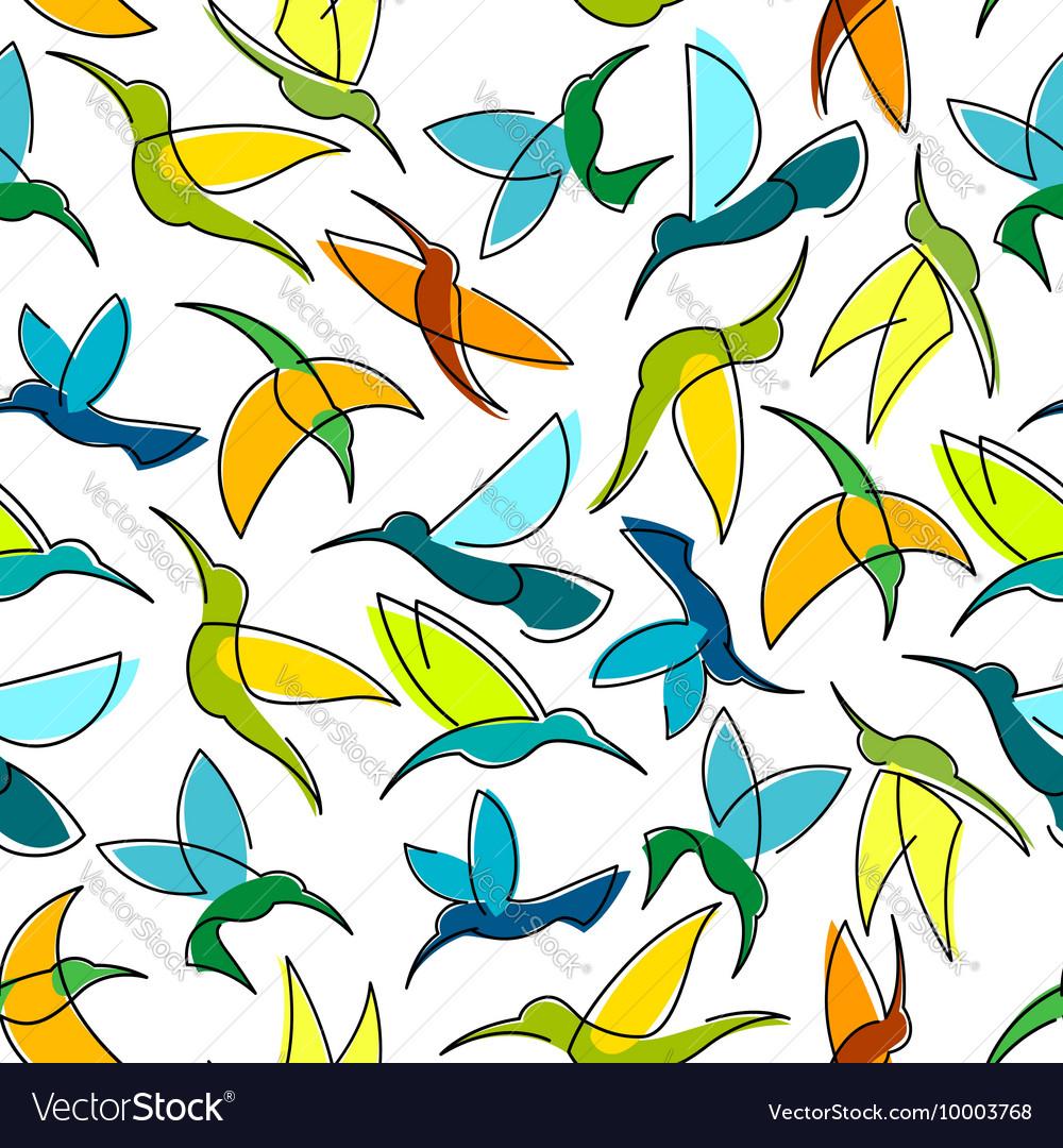 Flying hummingbird birds seamless pattern vector image