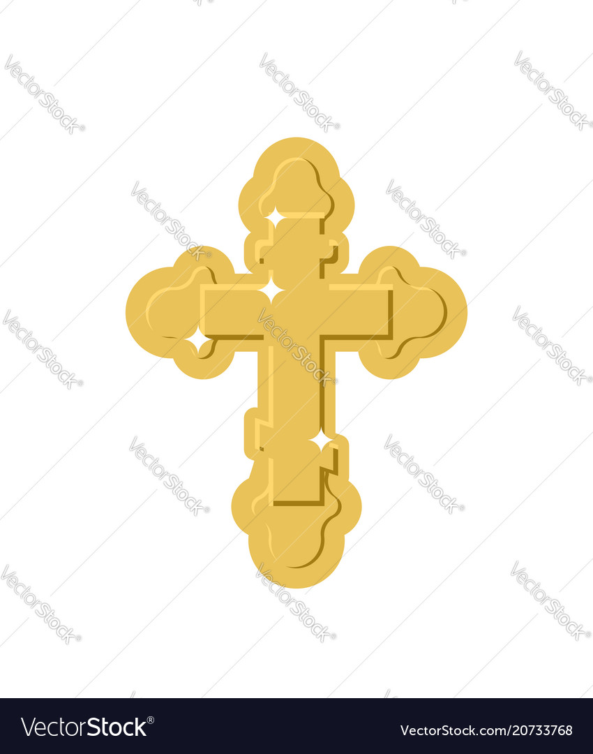 Golden cross isolated orthodox symbol of gold