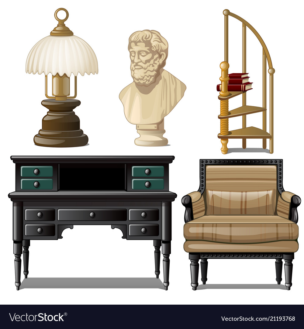 Objects and furniture vintage interior isolated on