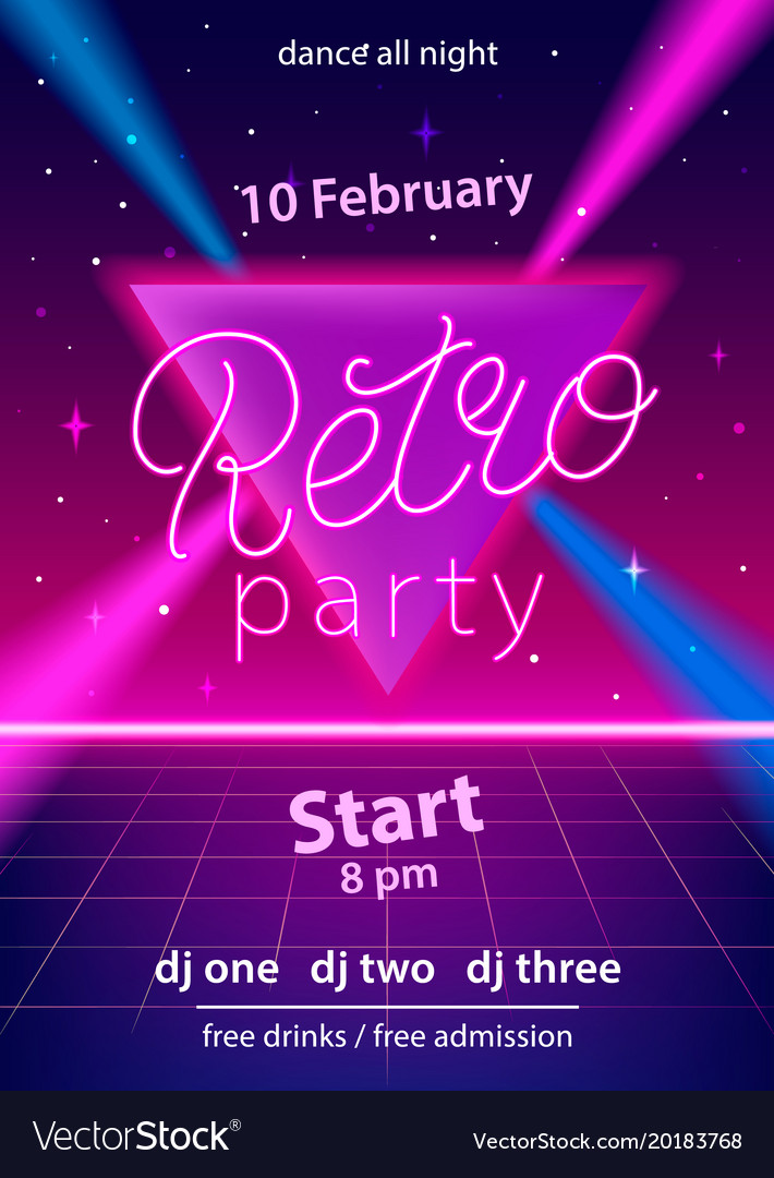 Retro party hand lettering design template vector image