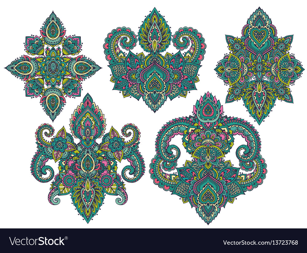 Set of henna floral elements vector image