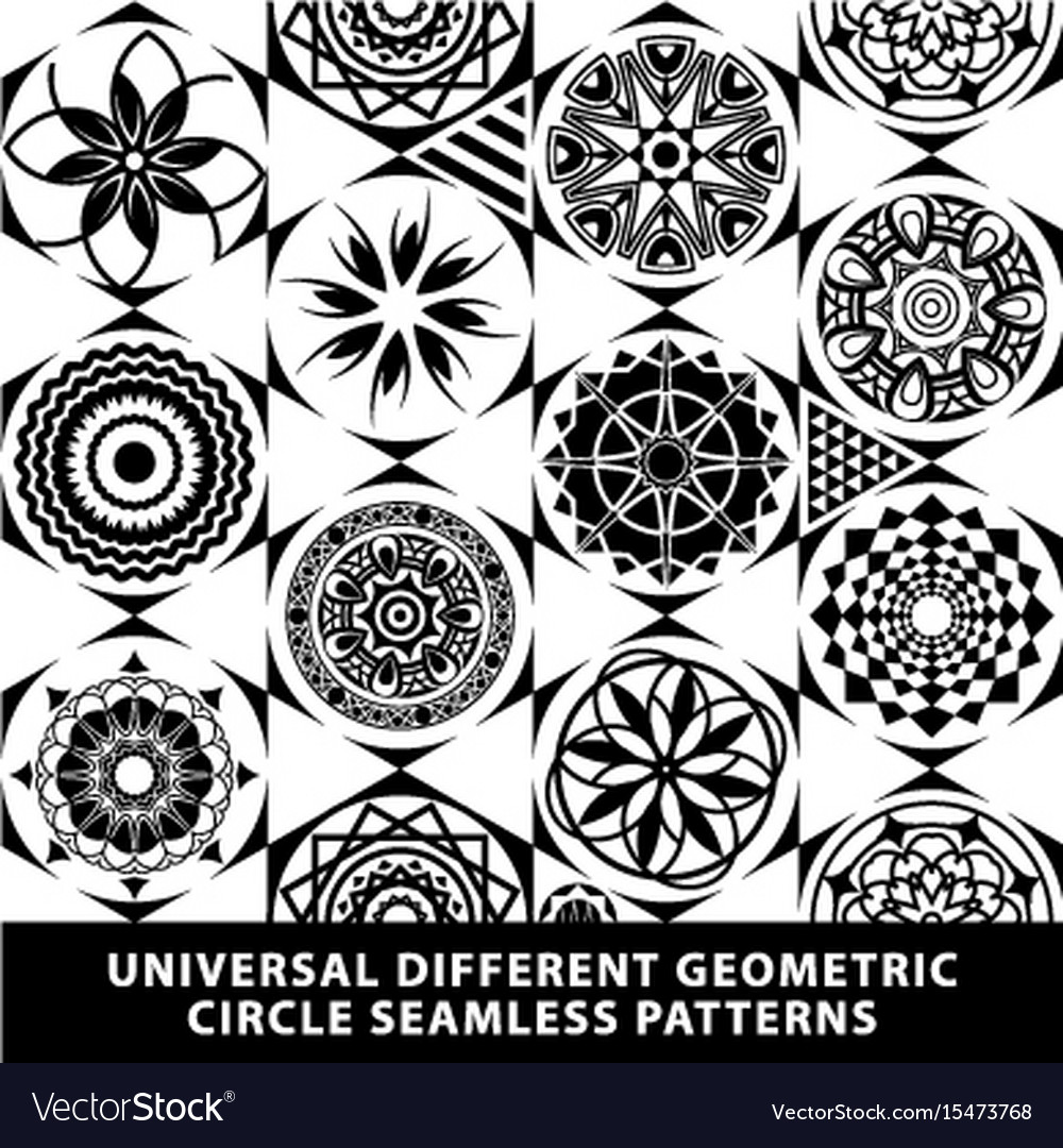 Set pattern seamless diamond tile circle black