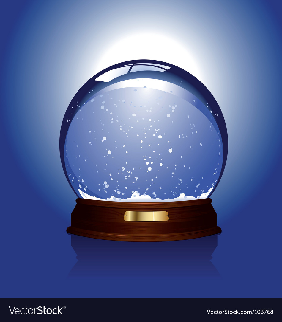 Snow globe over blue
