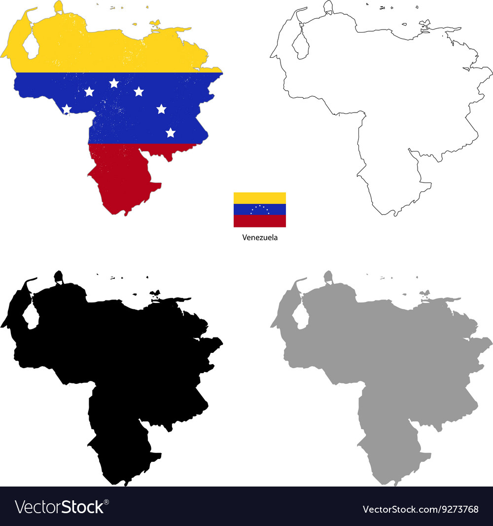 Venezuela country black silhouette and with flag