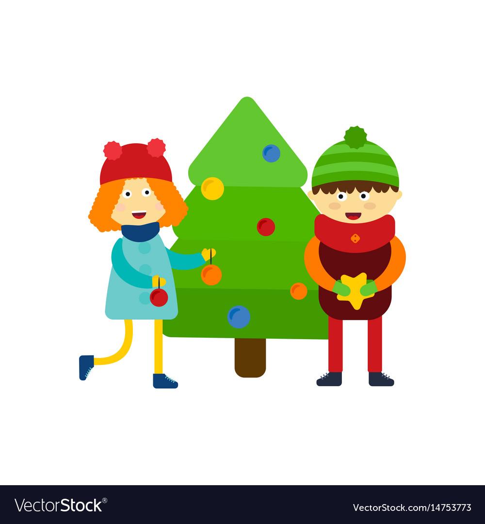 christmas kids playing winter games skiing cartoon vector image - Christmas Elf Games
