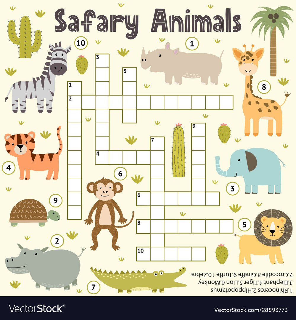 Crossword for kids with cute safari animals word