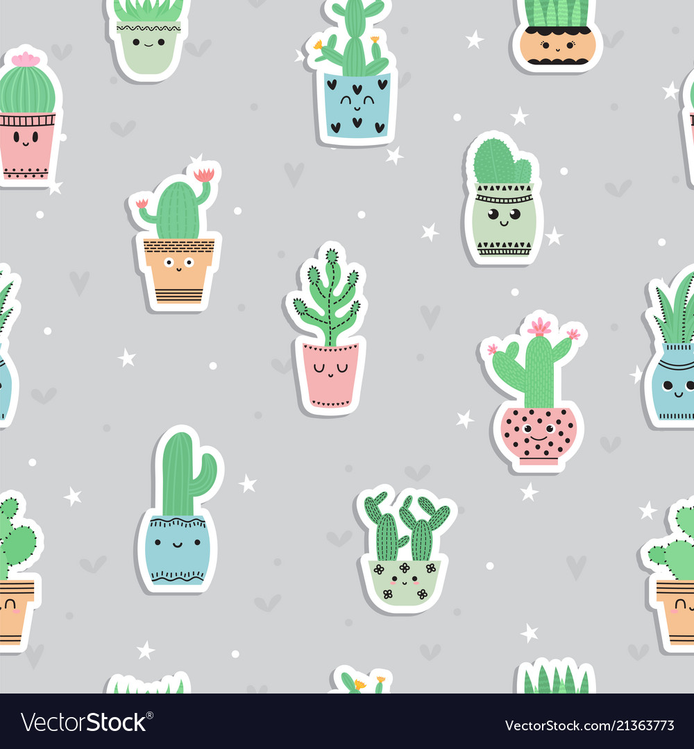 Cute seamless pattern with cacti and succulents