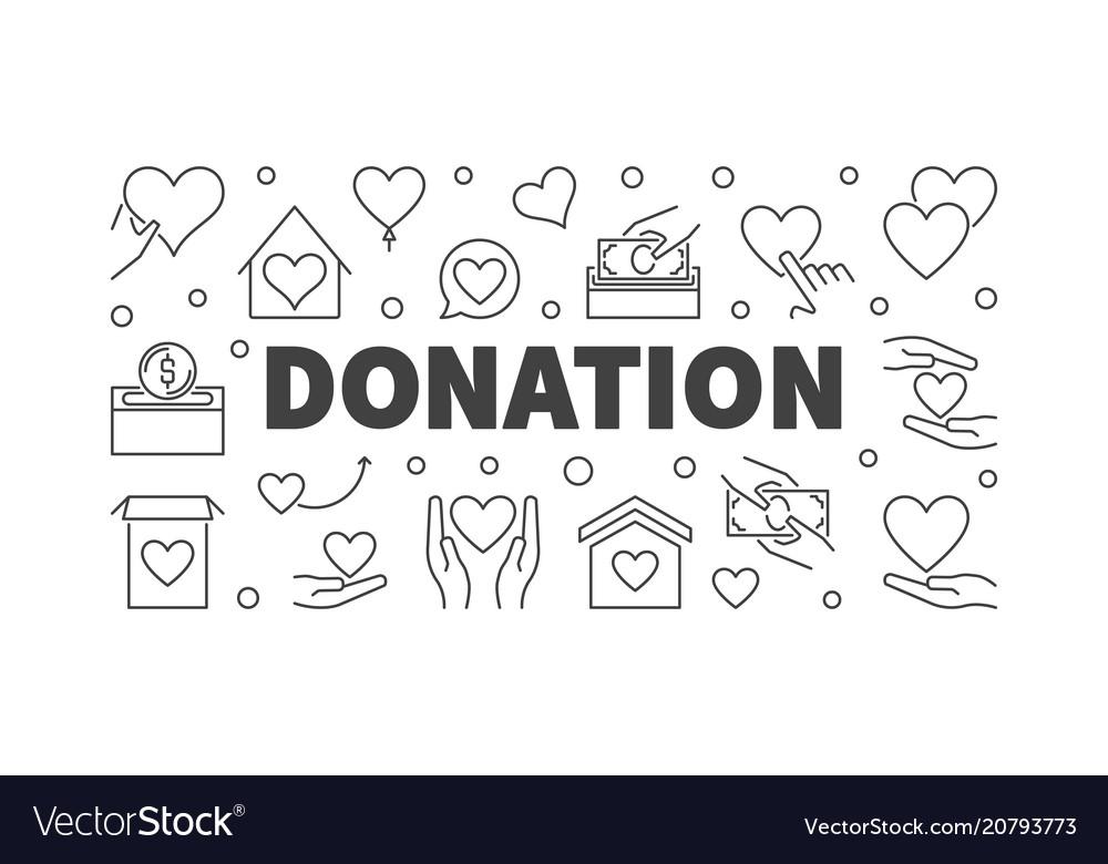Donation modern line or banner vector image