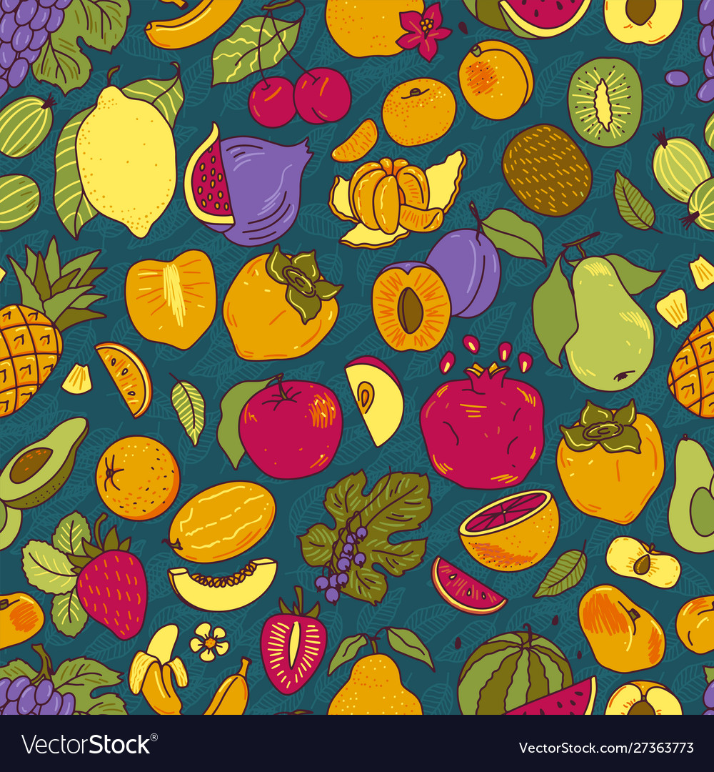 Fruits color hand drawn seamless pattern