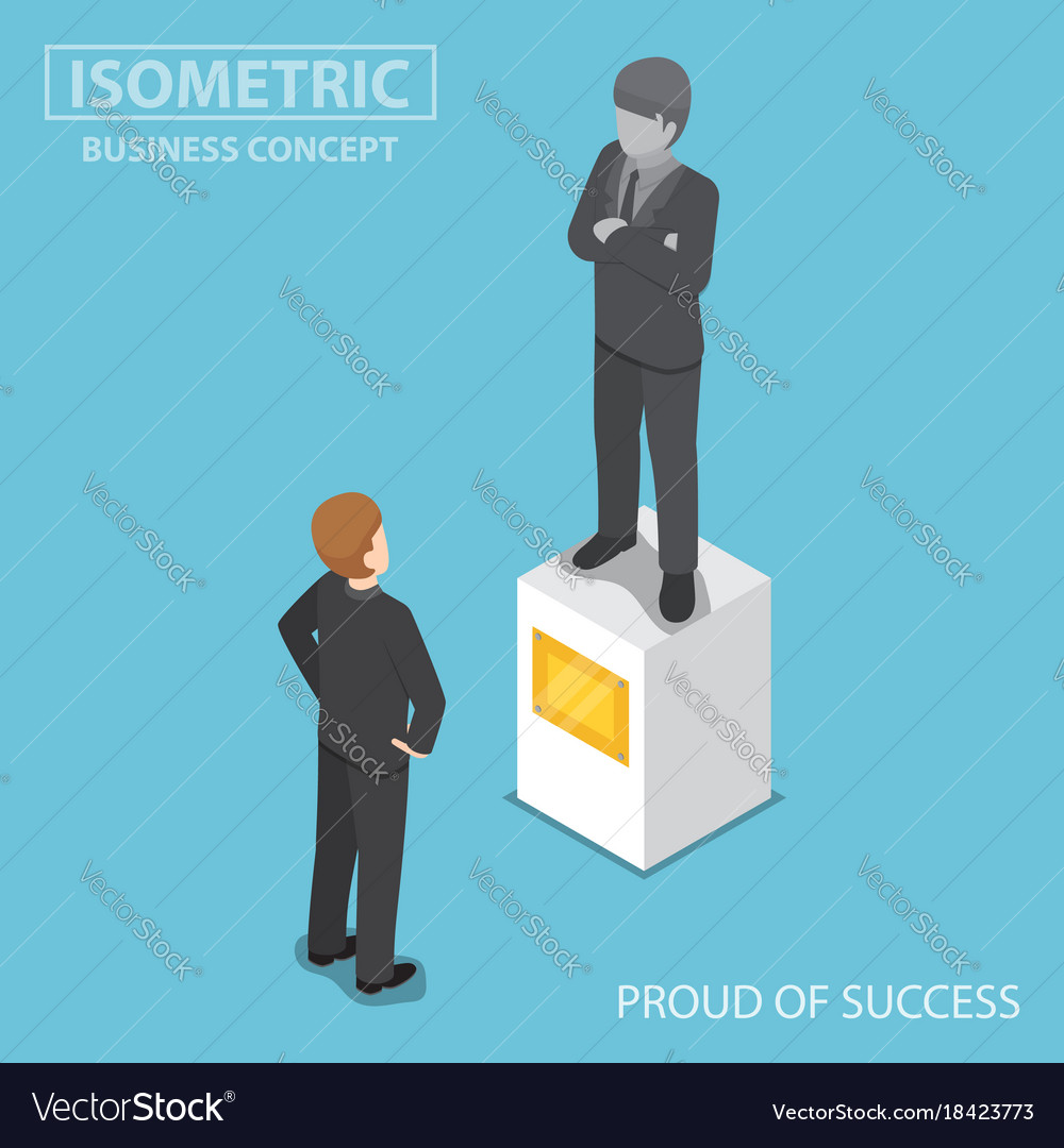 Isometric businessman looking at statue of himself vector image