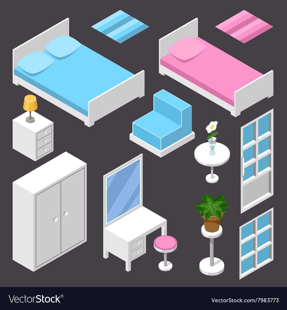Isometric furniture white color