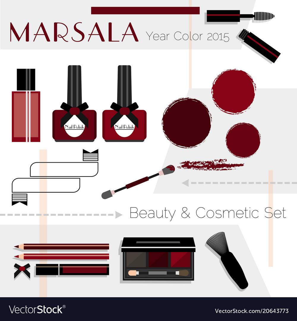 Marsala color beauty cosmetic icons set