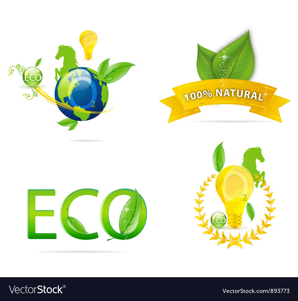 Nature earth eco sign set green color
