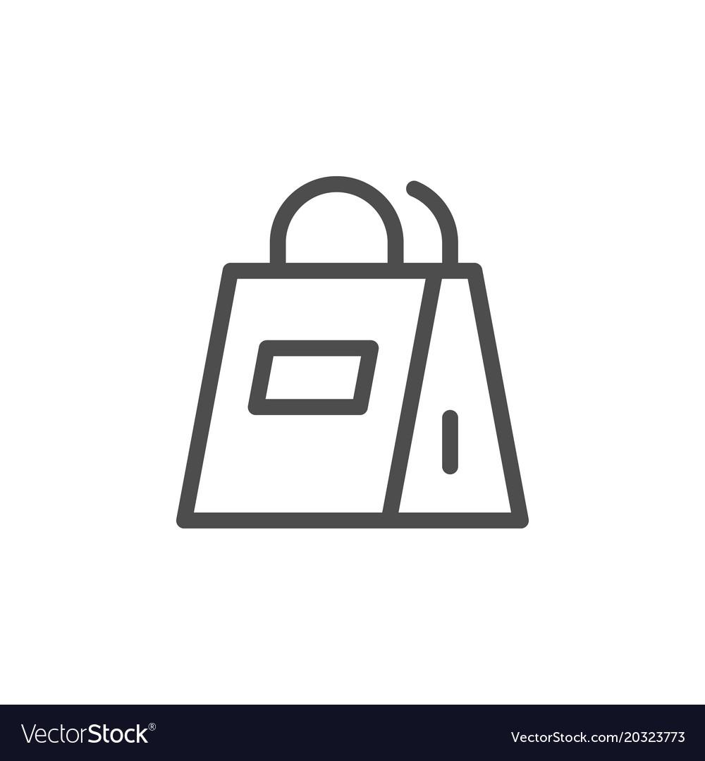 Paper bag line icon vector image