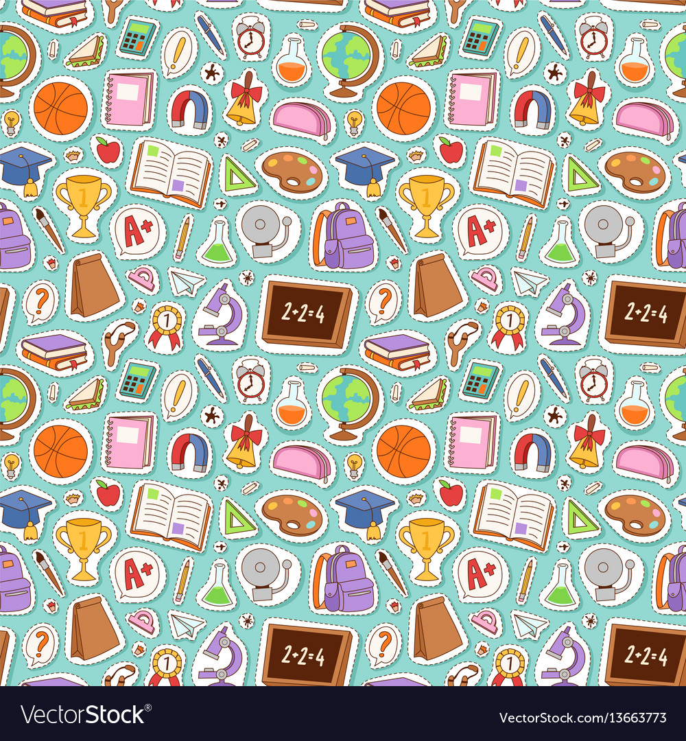 School icons seamless pattern background