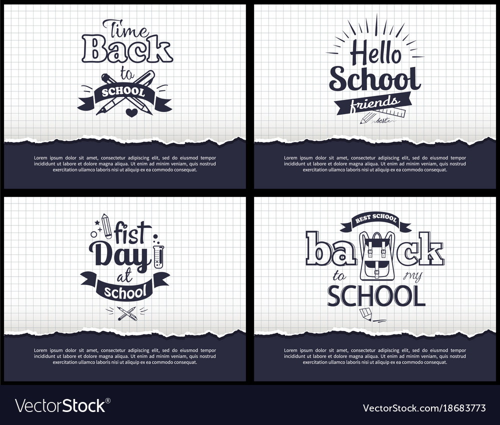 School-related set of black-and-white stickers vector image