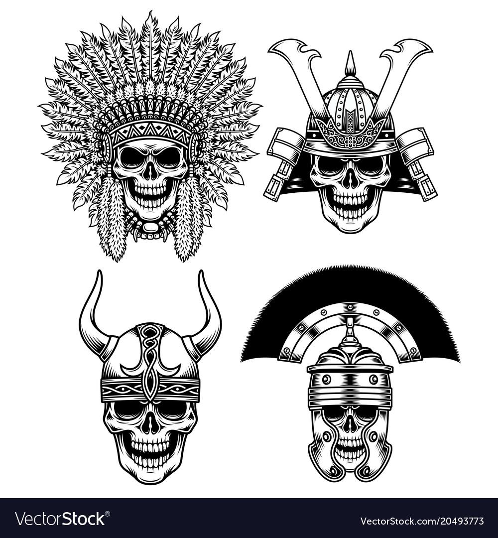 Set warrior skull characters