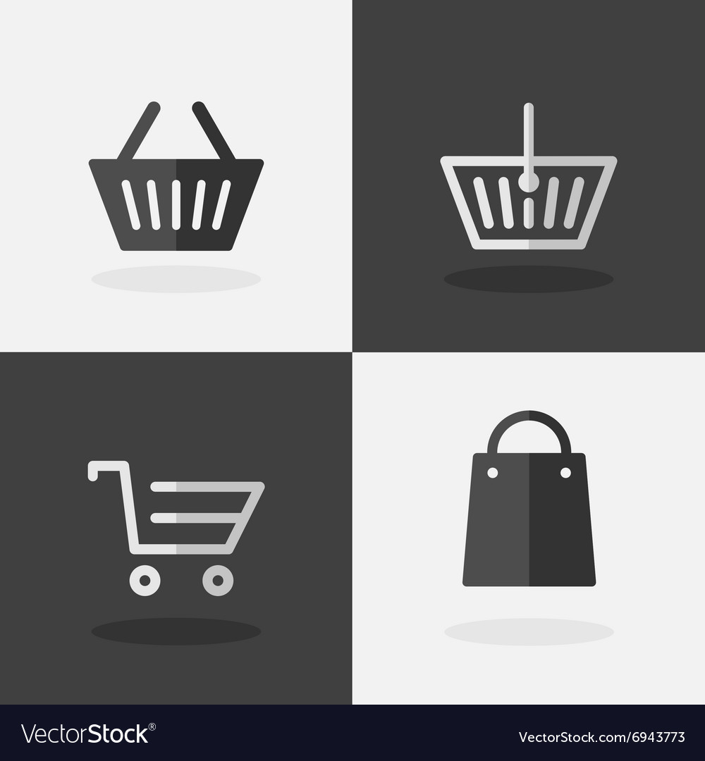 Shopping Bag Icons on Dark and White Background