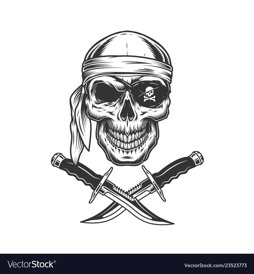 Skull in bandana and eye patch