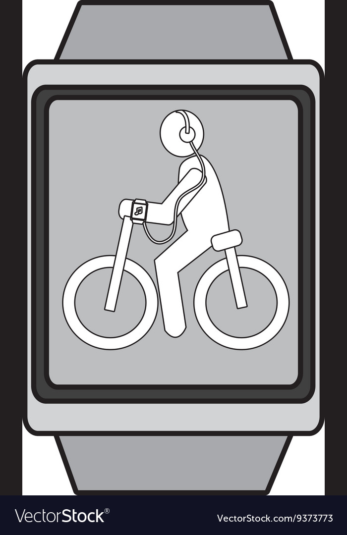 Square watch with cartoon human working out