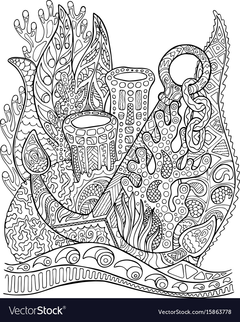 Anchor in coral reef adult coloring page