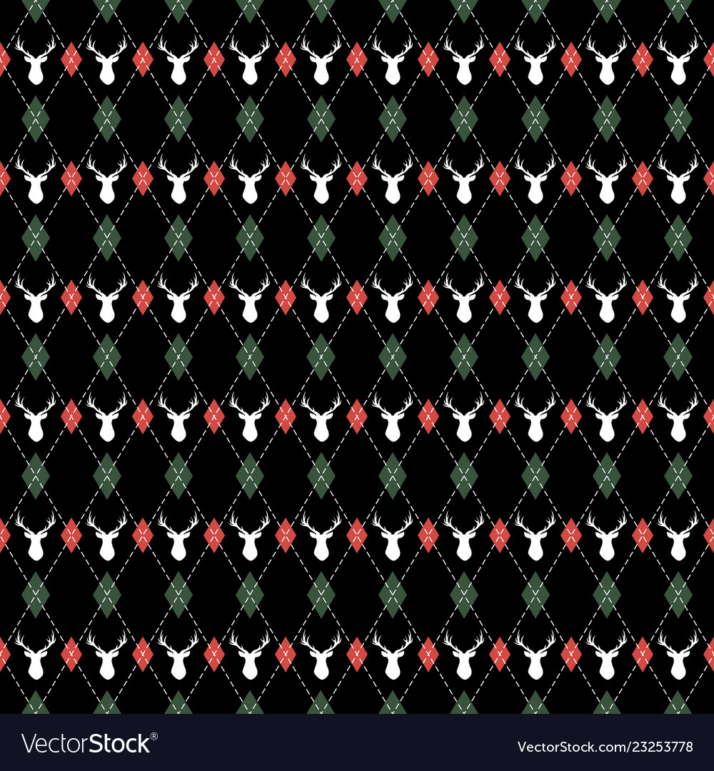 Christmas and new year pattern argyle with deers