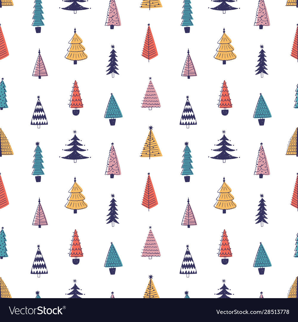 Colorful fir trees hand drawn seamless