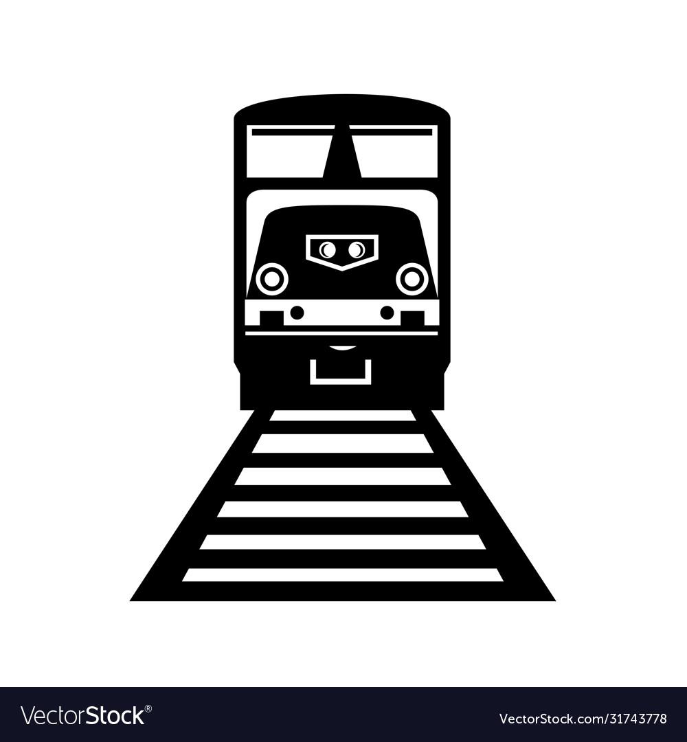 Diesel locomotive train front view retro black