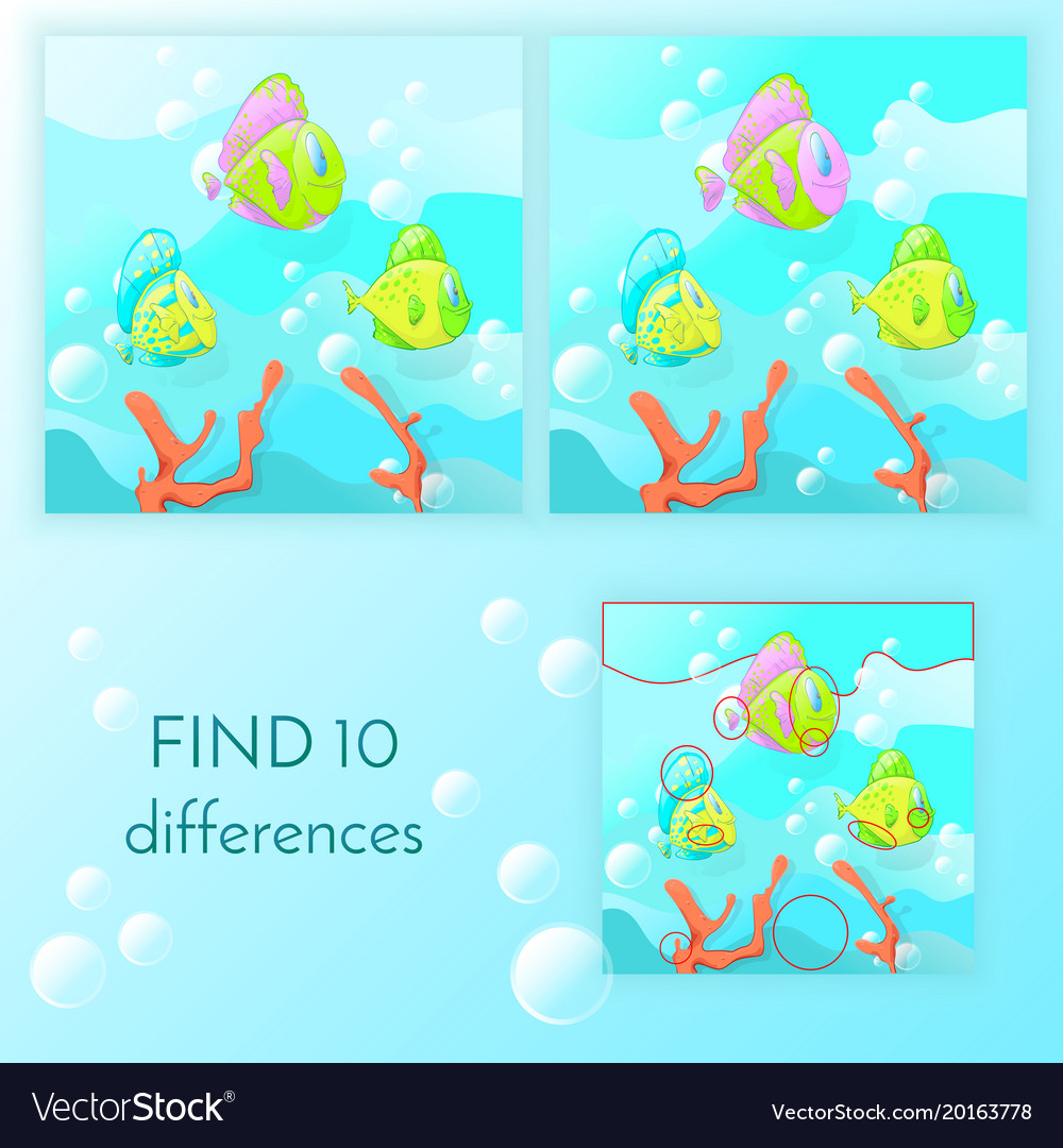 Educational game for kids find 10 differences
