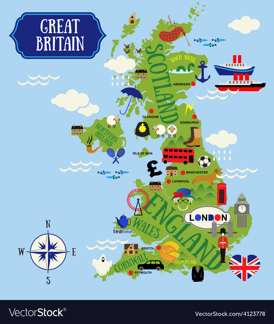 England map Royalty Free Vector Image   VectorStock