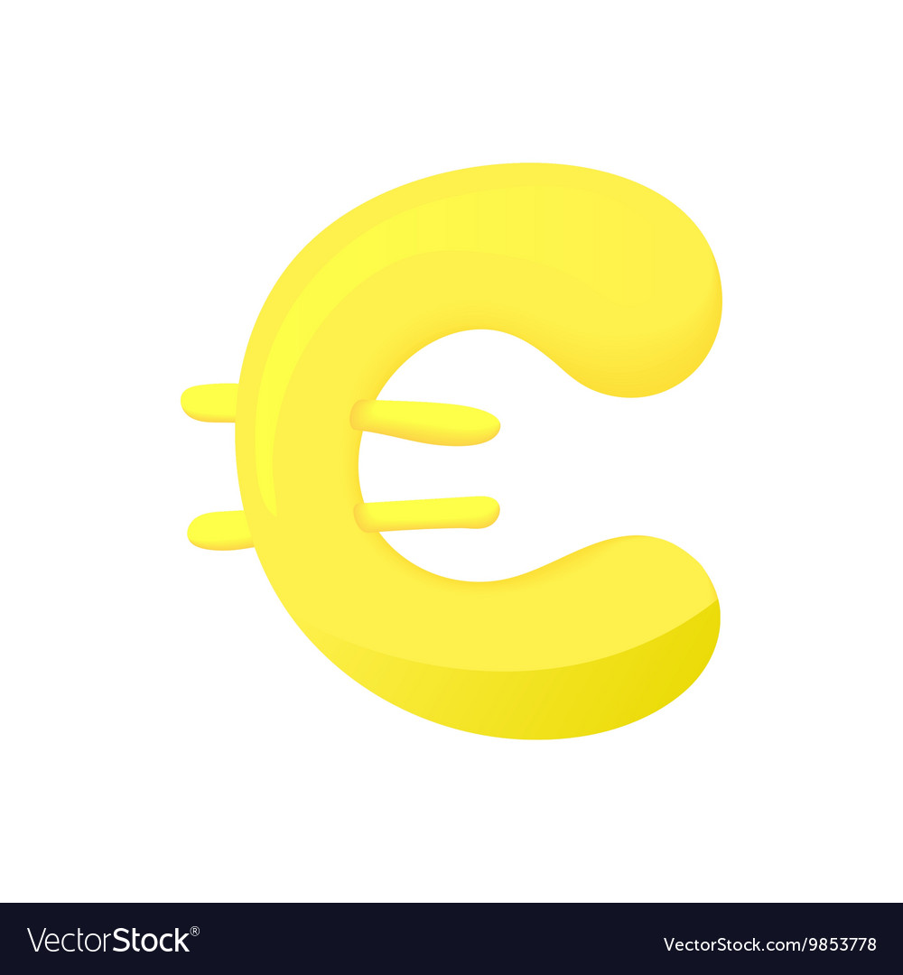 Euro Sign Icon Cartoon Style Royalty Free Vector Image