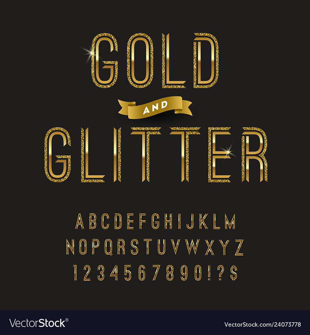Gold and glitter typeface golden font design