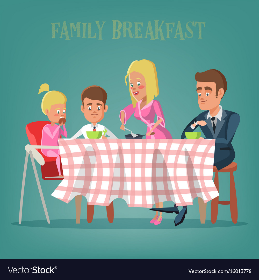 Happy family having breakfast in kitchen vector image