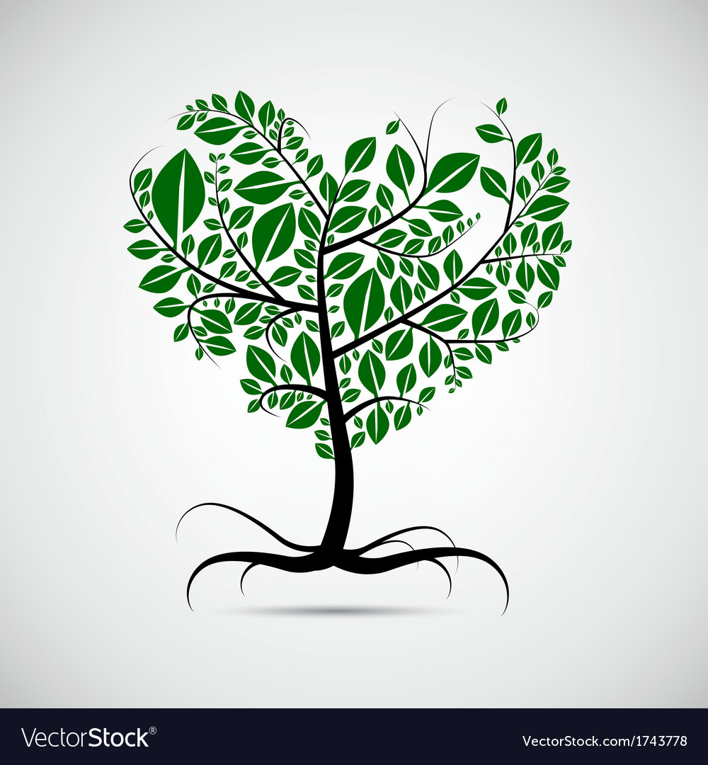 Heart shaped tree with green leaves