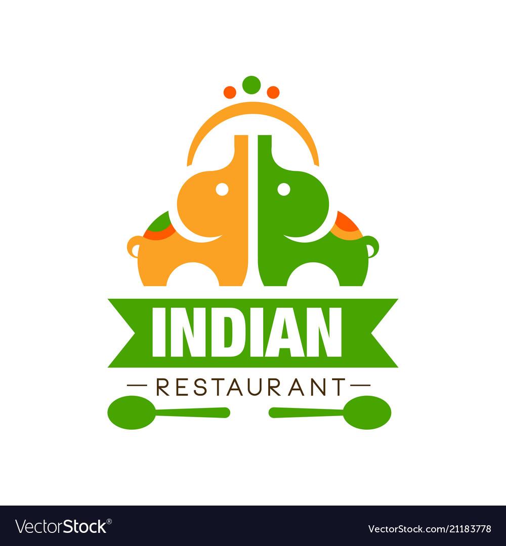 Indian Restaurant Logo Design Authentic Royalty Free Vector