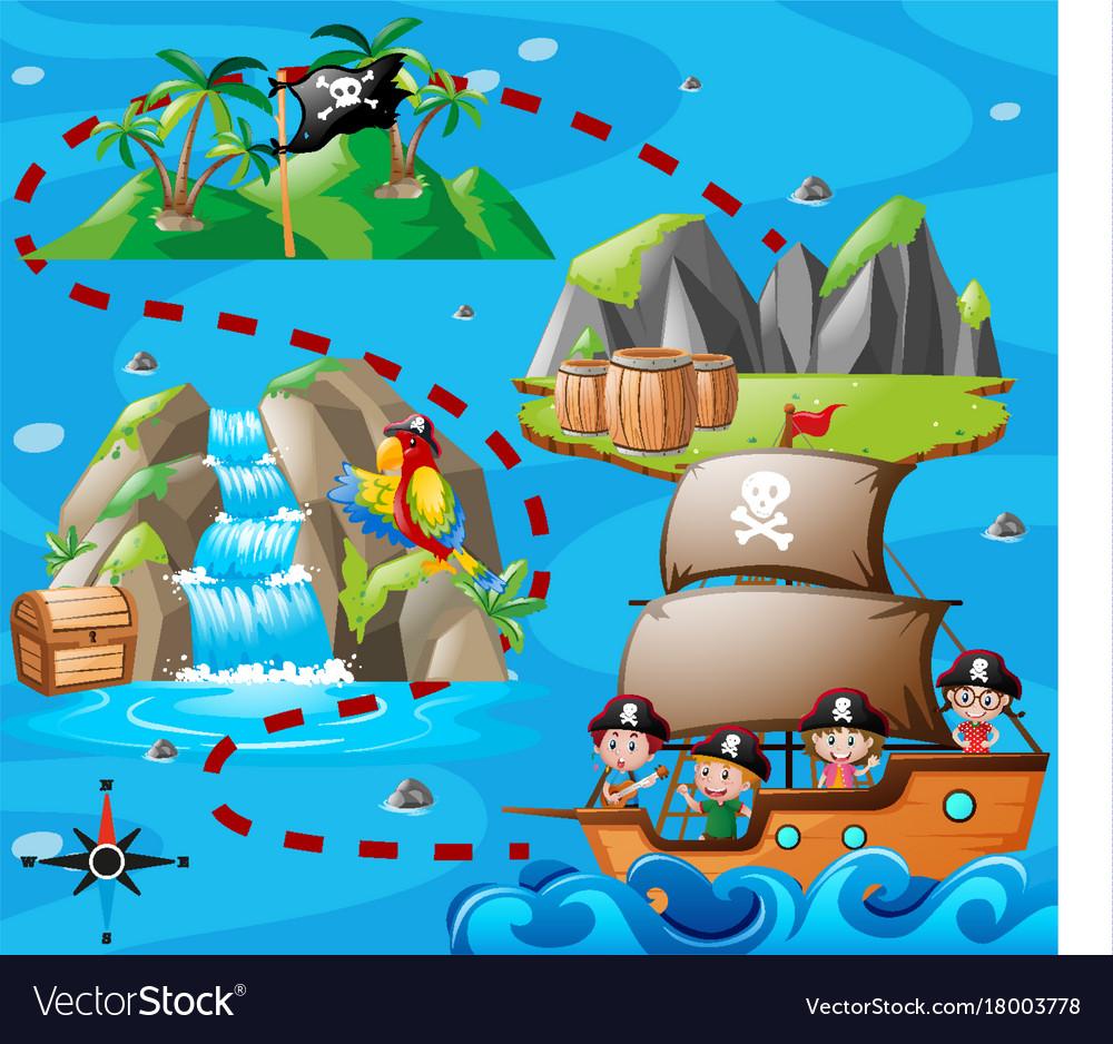 Treasure Maps For Kids Kids on ship and treasure map Royalty Free Vector Image Treasure Maps For Kids