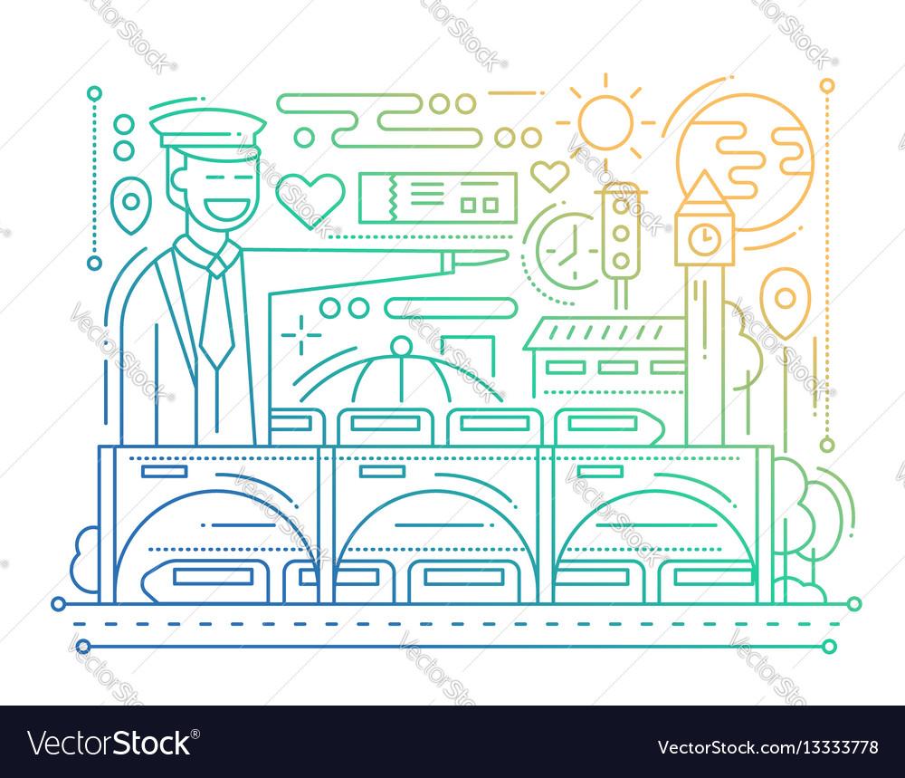 Railway station - line design composition - color vector image