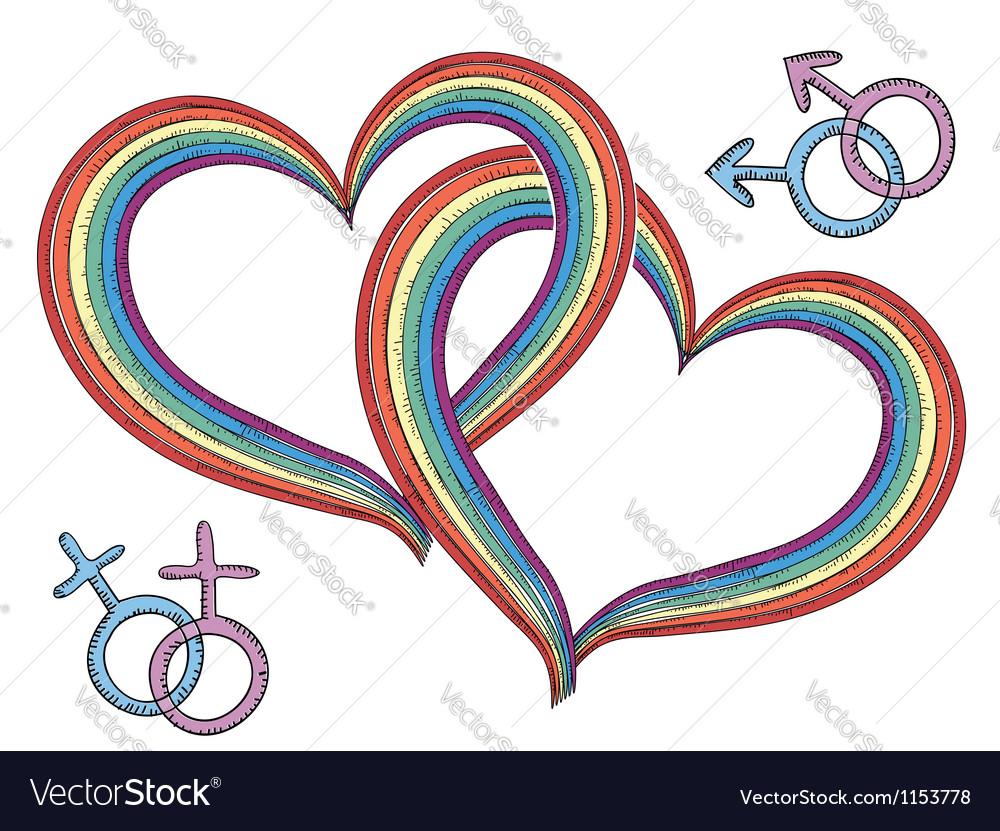 Rainbow hearts with gay symbols