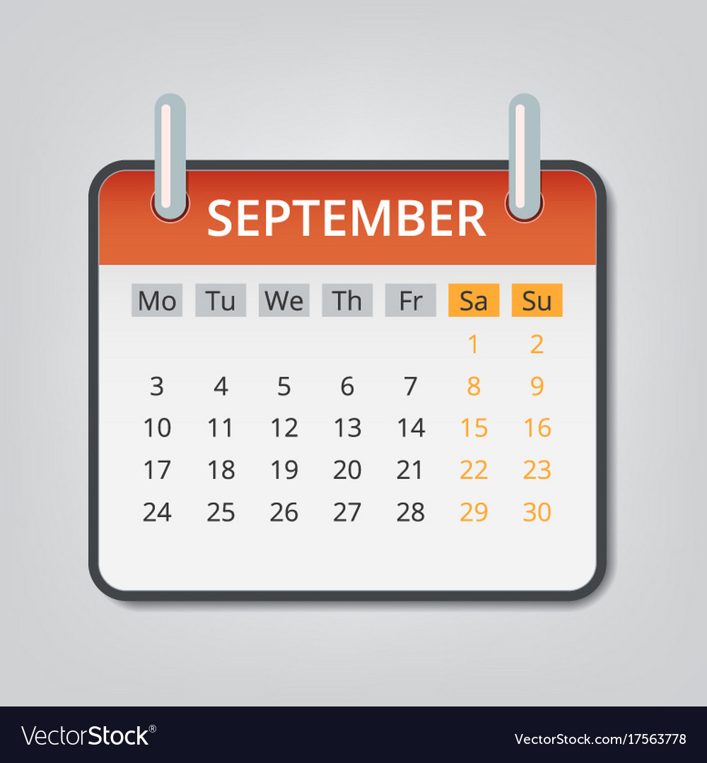 September 2018 calendar concept background