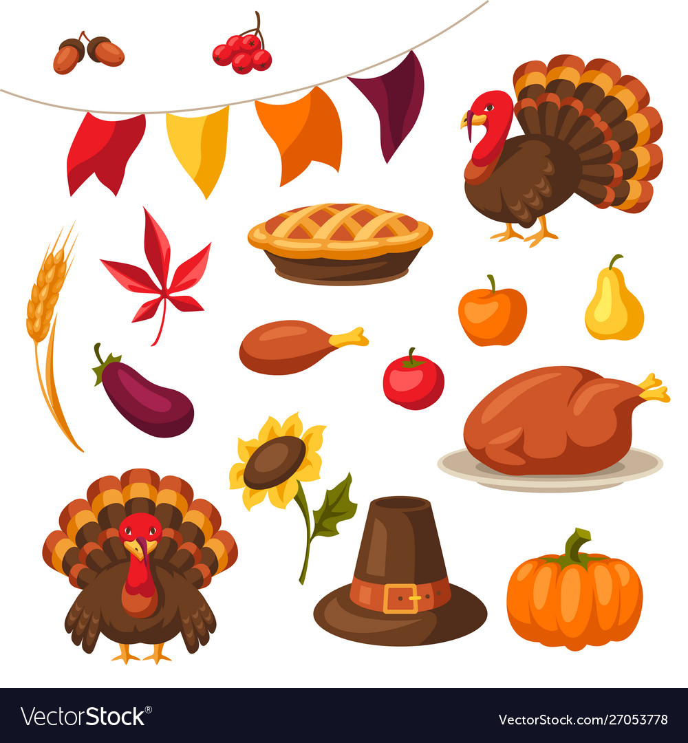 Set happy thanksgiving day objects and icons