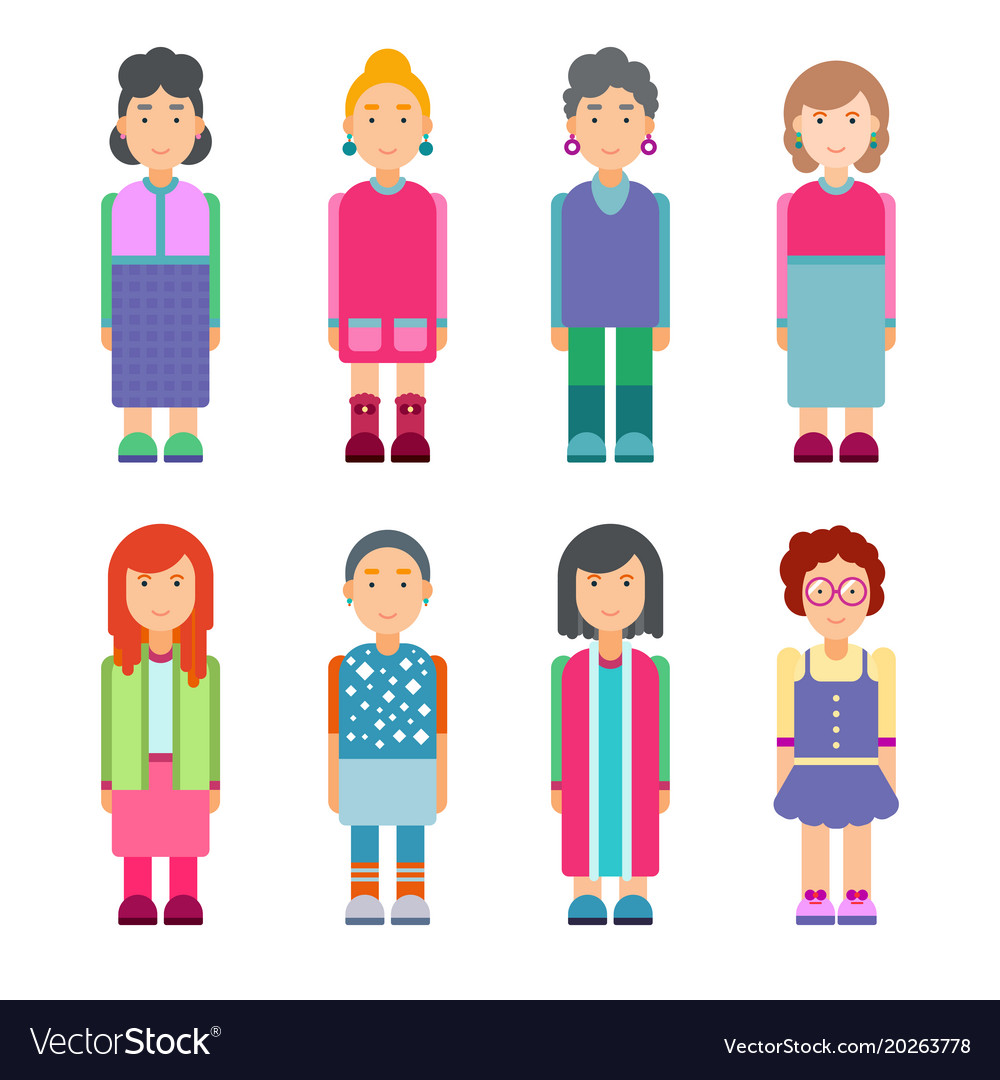 Set of females characters in flat design
