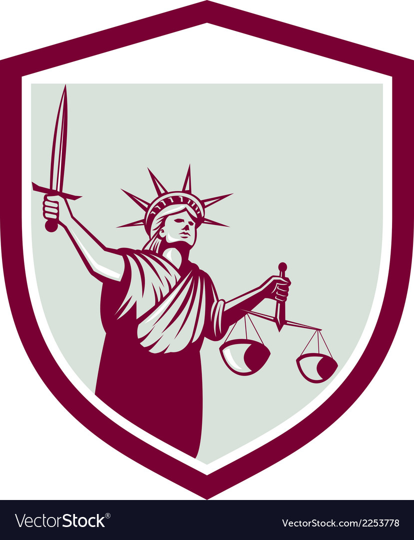 Statue of Liberty Holding Sword Scales Justice