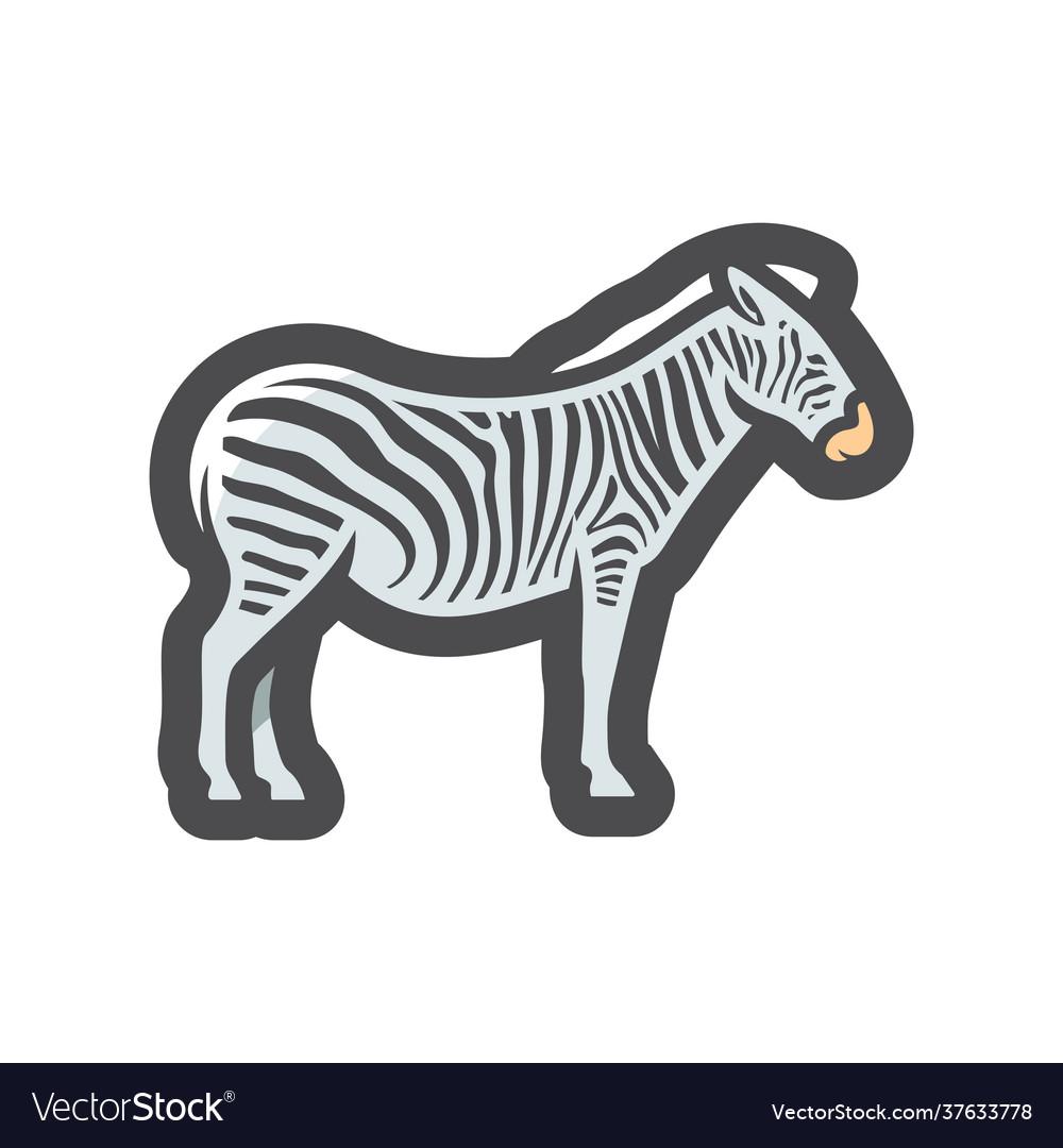 Zebra african animal striped horse icon