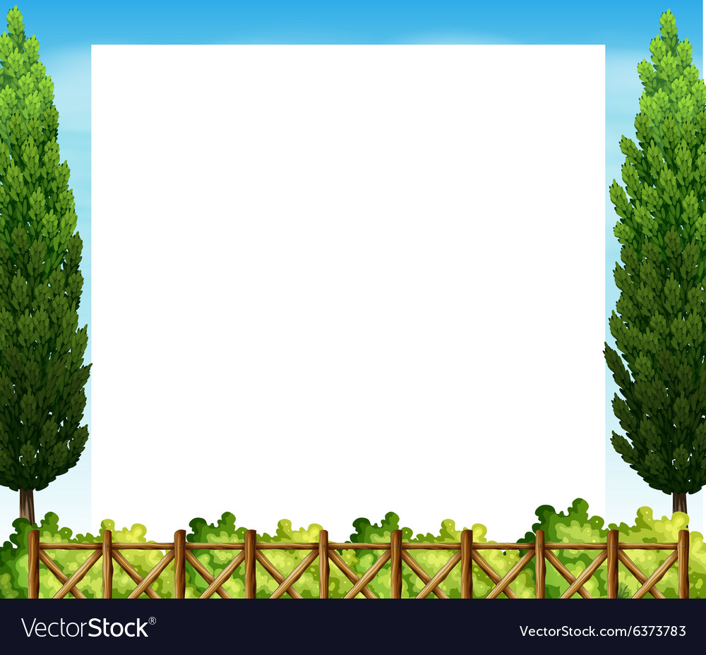 Border design with tree and fence vector image