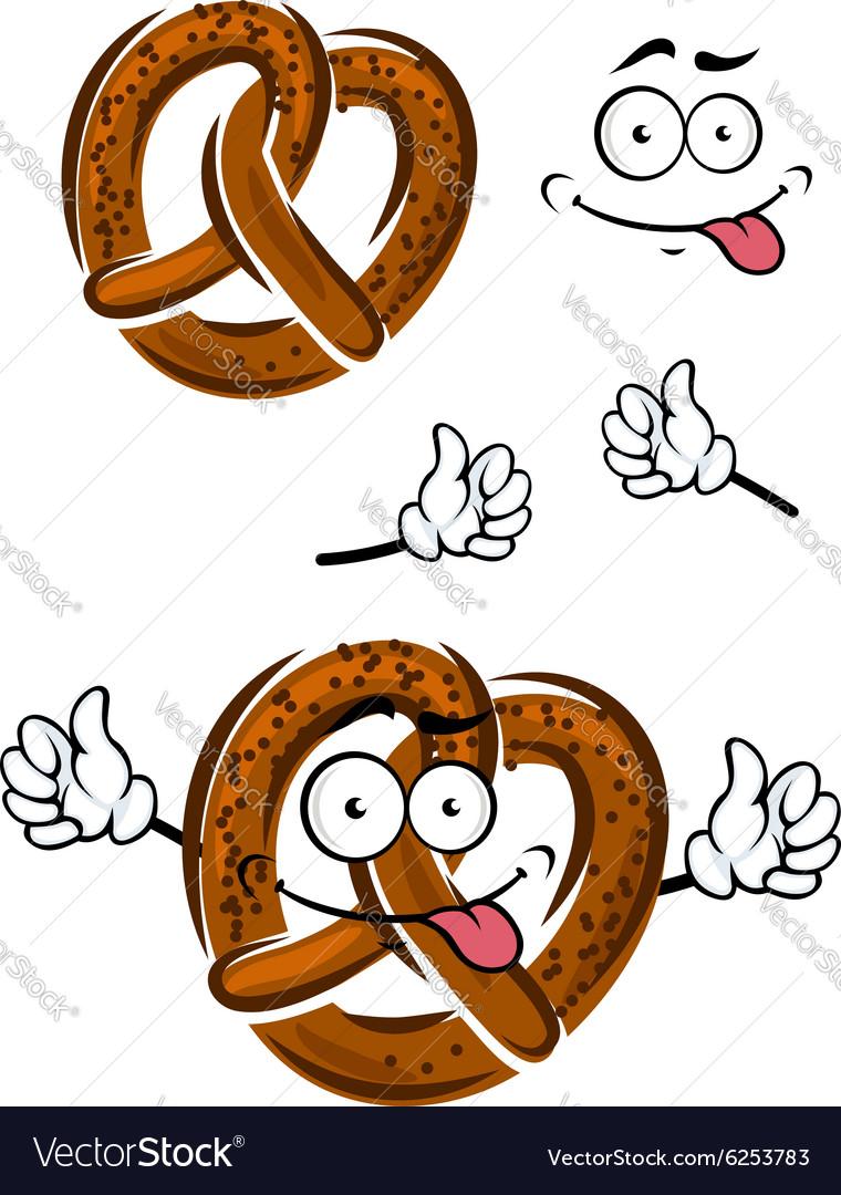 Cartoon pretzel with a happy smiling face